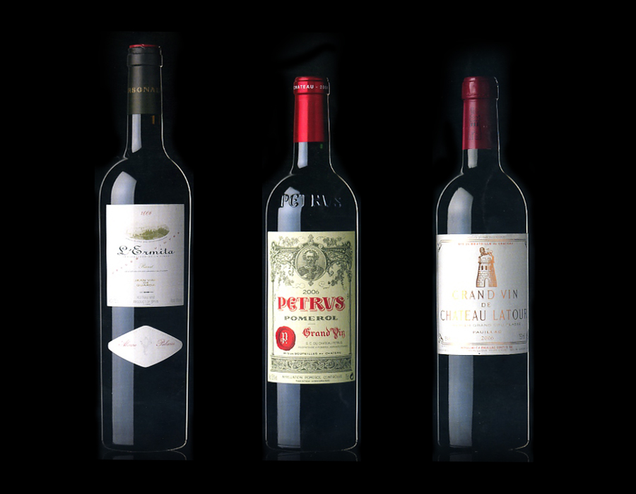 "Packaging de botellas ""L'Ermita"", ""Petrus"" i ""Chateau Latour"""